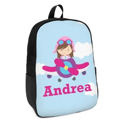 Airplane & Girl Pilot Kids Backpack (Personalized)