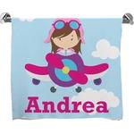 Airplane & Girl Pilot Bath Towel (Personalized)