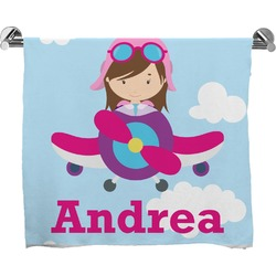 Airplane & Girl Pilot Full Print Bath Towel (Personalized)