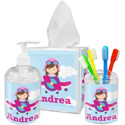 Airplane & Girl Pilot Bathroom Accessories Set (Personalized)