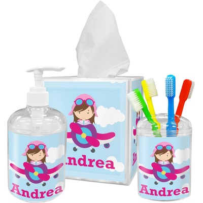 Airplane & Girl Pilot Acrylic Bathroom Accessories Set w/ Name or Text