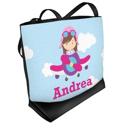 Airplane & Girl Pilot Beach Tote Bag (Personalized)