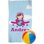 Airplane & Girl Pilot Beach Towel (Personalized)