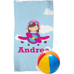 Airplane & Girl Pilot Beach Towel (Personalized)