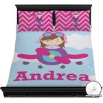 Airplane & Girl Pilot Duvet Cover Set (Personalized)
