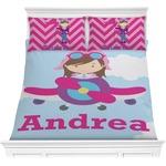 Airplane & Girl Pilot Comforter Set (Personalized)