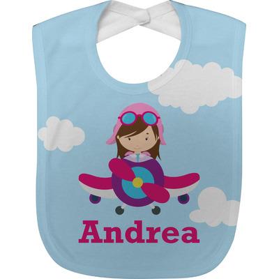 Airplane & Girl Pilot Baby Bib (Personalized)