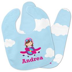 Airplane & Girl Pilot Baby Bib w/ Name or Text