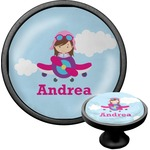 Airplane & Girl Pilot Cabinet Knob (Black) (Personalized)