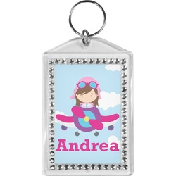 Airplane & Girl Pilot Bling Keychain (Personalized)