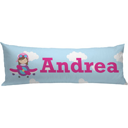 Airplane & Girl Pilot Body Pillow Case (Personalized)