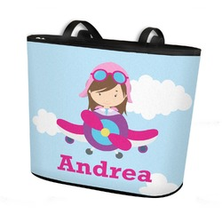 Airplane & Girl Pilot Bucket Tote w/ Genuine Leather Trim (Personalized)