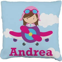 """Airplane & Girl Pilot Faux-Linen Throw Pillow 16"""" (Personalized)"""