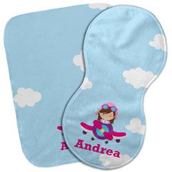 Airplane & Girl Pilot Burp Cloth (Personalized)