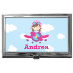 Airplane & Girl Pilot Business Card Case