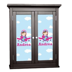Airplane & Girl Pilot Cabinet Decal - Custom Size (Personalized)