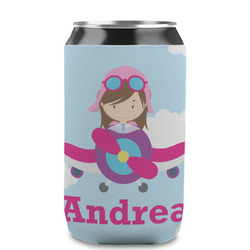Airplane & Girl Pilot Can Sleeve (12 oz) (Personalized)