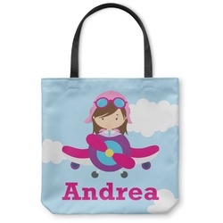 Airplane & Girl Pilot Canvas Tote Bag (Personalized)