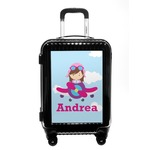 Airplane & Girl Pilot Carry On Hard Shell Suitcase (Personalized)