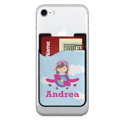 Airplane & Girl Pilot 2-in-1 Cell Phone Credit Card Holder & Screen Cleaner (Personalized)