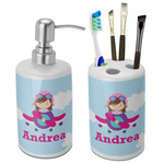 Airplane & Girl Pilot Bathroom Accessories Set (Ceramic) (Personalized)