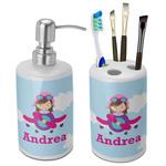 Airplane & Girl Pilot Ceramic Bathroom Accessories Set (Personalized)