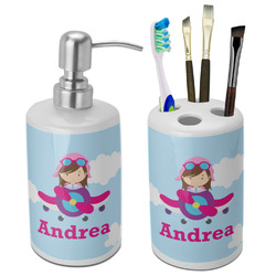 Airplane & Girl Pilot Bathroom Accessories Set (Ceramic) (Personalized)