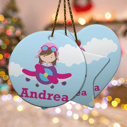 Airplane & Girl Pilot Ceramic Ornament w/ Name or Text