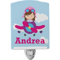 Airplane & Girl Pilot Ceramic Night Light (Personalized)