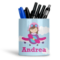 Airplane & Girl Pilot Ceramic Pen Holder