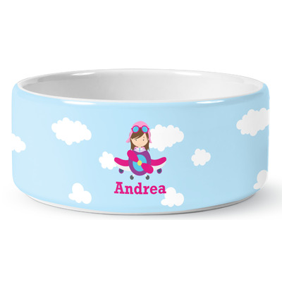 Airplane & Girl Pilot Ceramic Dog Bowl (Personalized)