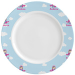 Airplane & Girl Pilot Ceramic Dinner Plates (Set of 4) (Personalized)