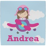 Airplane & Girl Pilot Ceramic Tile Hot Pad (Personalized)