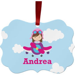 Airplane & Girl Pilot Metal Frame Ornament - Double Sided w/ Name or Text