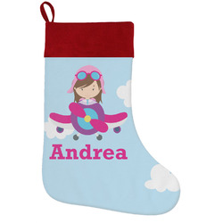 Airplane & Girl Pilot Holiday Stocking w/ Name or Text