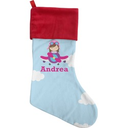 Airplane & Girl Pilot Christmas Stocking (Personalized)