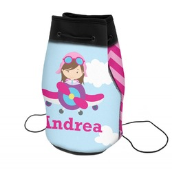 Airplane & Girl Pilot Neoprene Drawstring Backpack (Personalized)