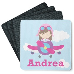 Airplane & Girl Pilot 4 Square Coasters - Rubber Backed (Personalized)