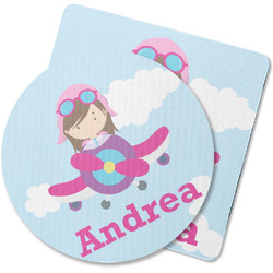 Airplane & Girl Pilot Rubber Backed Coaster (Personalized)