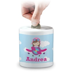 Airplane & Girl Pilot Coin Bank (Personalized)