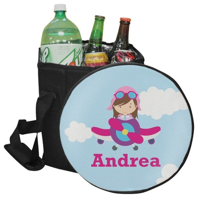Airplane & Girl Pilot Collapsible Cooler & Seat (Personalized)