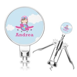 Airplane & Girl Pilot Corkscrew (Personalized)
