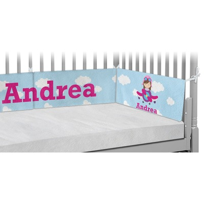 Airplane & Girl Pilot Crib Bumper Pads (Personalized)