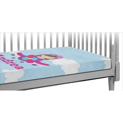 Airplane & Girl Pilot Crib Fitted Sheet (Personalized)