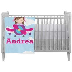 Airplane & Girl Pilot Crib Comforter / Quilt (Personalized)
