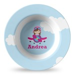 Airplane & Girl Pilot Plastic Bowl - Microwave Safe - Composite Polymer (Personalized)