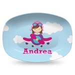 Airplane & Girl Pilot Plastic Platter - Microwave & Oven Safe Composite Polymer (Personalized)