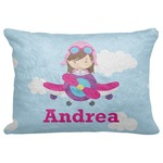 "Airplane & Girl Pilot Decorative Baby Pillowcase - 16""x12"" (Personalized)"