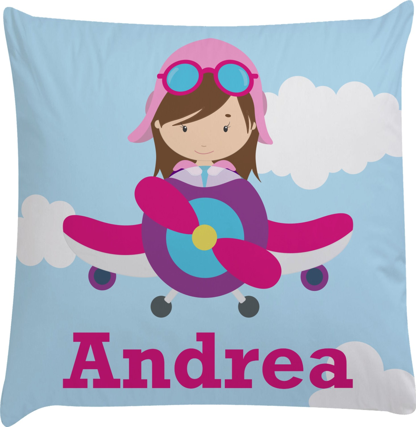 Decorative Airplane Pillow : Airplane & Girl Pilot Decorative Pillow Case (Personalized) - YouCustomizeIt