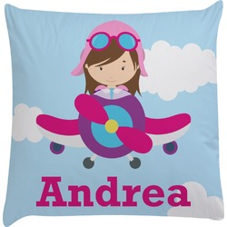 Airplane & Girl Pilot Decorative Pillow Case (Personalized)